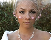 PINK BIRDCAGE VEIL with Rosettes, Russian Net Cage Veil, Birdcage Veils by Vegas Veils. Ready to Ship.