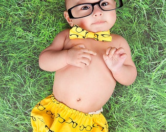 Diaper Cover and Bow Tie Set Birthday Cake Smash Newborn Photo Prop Baby Boy Little Man Geeky Yellow Black Glasses Chic Modern