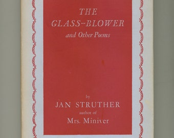 Jan Struther The Glass Blower and Other Poems, Vintage Poetry Book 1941
