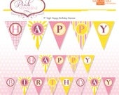 Printable Pink Lemonade Birthday Banner - DIY - Do-It-Yourself Printables - Pink Sunshine - Instant Download