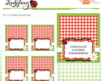 Ladybug Printables - Blank Buffet Labels - Tent Cards - Place Cards - DIY - Do-It-Yourself Printable - Red Ladybug - Instant Download