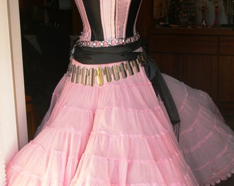 pink and black boned corset size 32