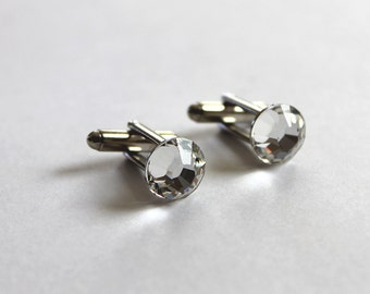 Swarovski Groomsmen Cufflink, Unique Groomsmen Gift Wedding Cufflink, Groomsmen Cuff Links, Groom Gift, Crystal Cufflinks, Bridal Party Gift