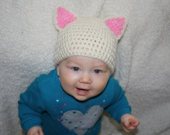 Kitty Cat Hat (color options) Beanie 0-3 MO 3-6 mo 6-12 mo 12-18 mo 18-36 Months Baby Shower Gift, Infant, Perfect Photo Prop