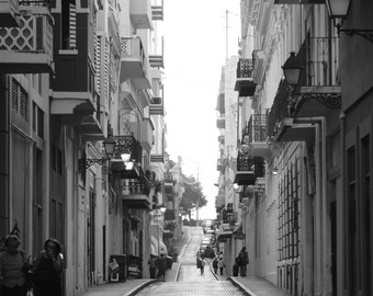 Black and White Street Photography  - People, Cars, Buildings on a Cobblestone Street in Puerto Rico