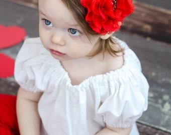Red Flower Newborn Headband - Sweet Red Lace Chiffon Flower Red Baby Headband - Newborn Baby Toddler Child Girls Headband