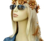 Let It Be Hippie headband with tan daisies flowers and feathers festival women hair accessories
