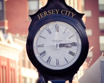 Jersey City New Jersey Antique Clock Art Print Photography Industrial Modern Art Home Decor Photograph Black and White