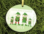 Elf Family Holiday Ornament - Custom Family of Elves with Trees - Gift - Personalized Porcelain Christmas Ornament - orn14 - Peachwik