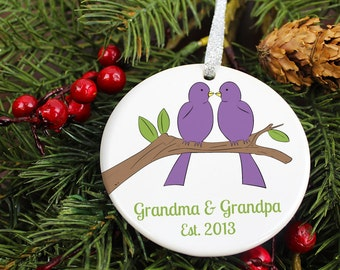 New Grandma & Grandpa Est. Christmas Ornament - Love Birds Grandparents Baby - Custom Personalized Porcelain Holiday Gift - orn274- Peachwik