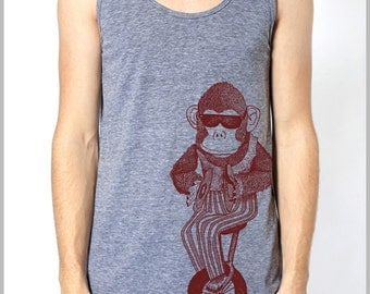 Vintage Monkey Tank Top American Apparel Men's Women's Tank Top Athletic Grey
