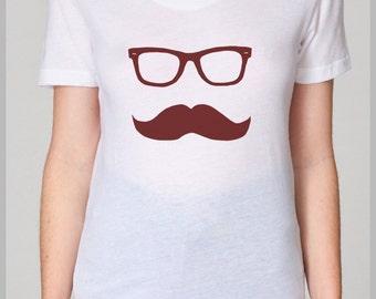 Women's T Shirt Mustache Wayfarer American Apparel S, M, L, XL  8 Colors