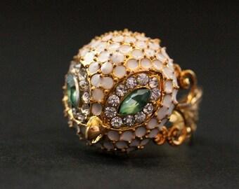 Rhinestone Owl Ring. White Owl Ring. Gold Filigree Cocktail Ring. Adjustable Ring. Handmade Jewelry