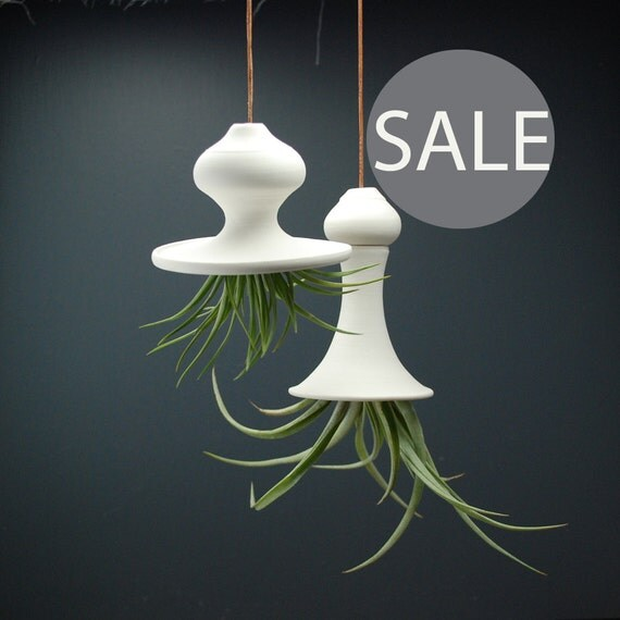 Hanging Air Planter - SALE - Set of 2 porcelain planters - Squash Blossom
