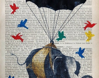 MATES, Birds Elephant original mixed media,art print poster acrylic painting