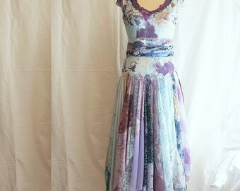 This dress is ready to ship Long Romantic Tattered Dress Pale Blue Purple Upcycled Woman's Clothing Funky Style Shabby Chic Eco Friendly