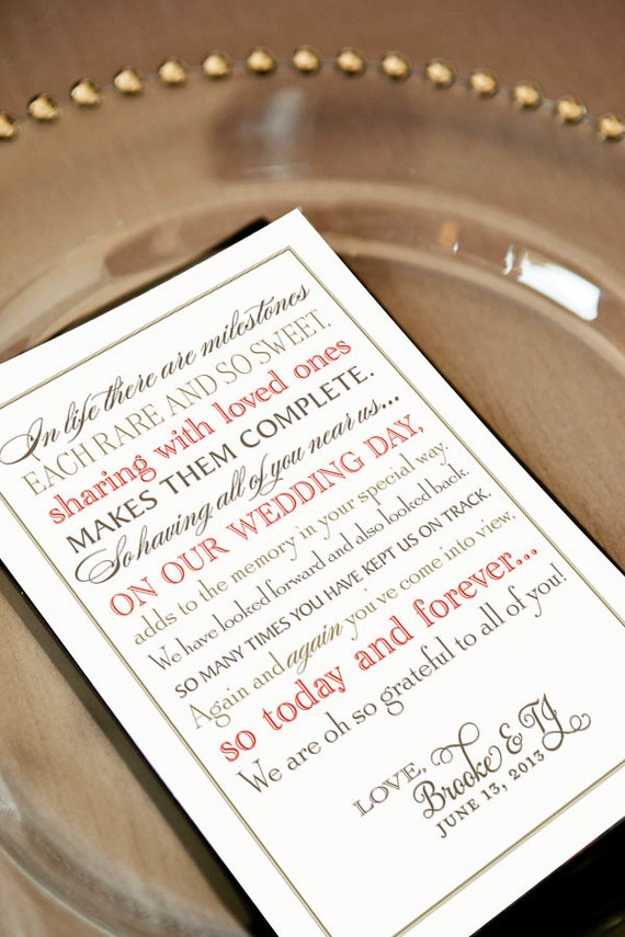 Items Similar To Wedding Thank You Note For Guests Printable File Calligraphy Unique Poem