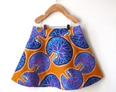Size 7 Girls African Wax Print Skirt - Purple and Orange