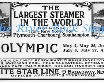 White Star Line Olympic Titanic 1912 Ad - Digital Download