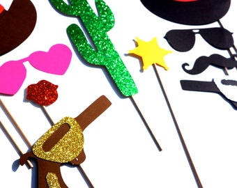 NEW PRICE - Photo Booth Props - The Deluxe Western Wedding Collection - 10 piece prop set - Birthdays, Weddings, Parties - GLITTER Props