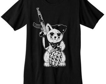Maneki Neko t shirt japanese lucky cat guerrilla gun