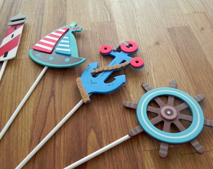 Nautical Shapes - Cake Toppers or Party Decorations blue anchor sailboat baby shower birthday party