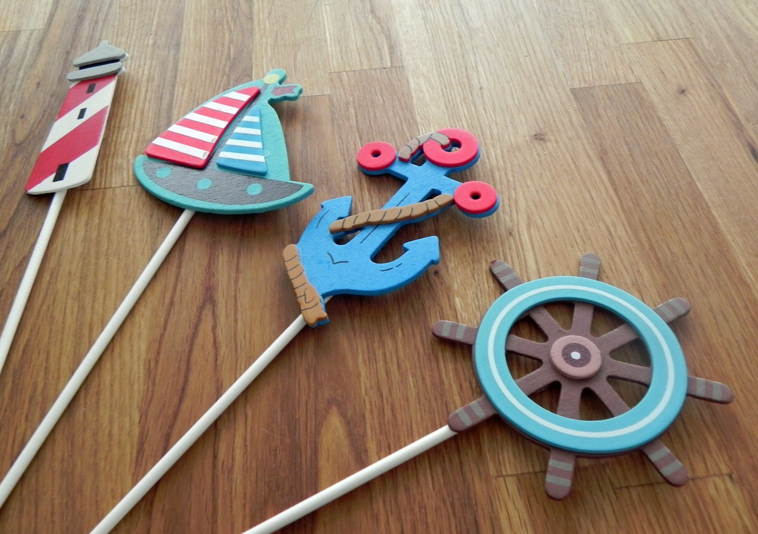 Nautical shapes cake toppers or party decorations blue for Anchor decoration party