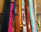 2 Mystery Belts Hipster 1980 1990 Belt / Black leather / Native American Beaded / Southwestern / Neon /  Braided Leather