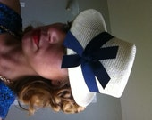 1940s Straw Perch Tilt Hat, Olivia in Ivory with Navy Ribbon