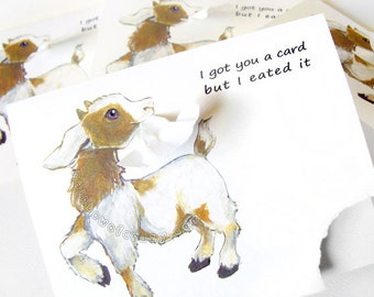 Sale: Funny Card Set of 4, Cute Goat Art, Personalized Greeting Card, Custom Birthday Card, Happy Anniversary, Thank You