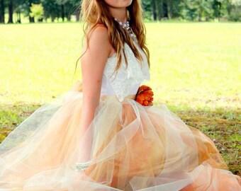 Junior Bridesmaid Tulle Dress, Tween Flower Girl Modest Dress, Big Girl sizes 4-20