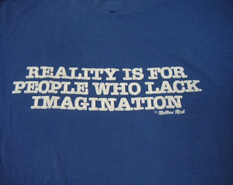 Vintage Graphic T Shirt. Reality, Imagination, Mellow Mail.