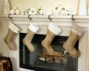 The Classic Cream Line- Set of Four (4) Burlap Stockings, Original Christmas Burlap Stockings