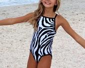 Girl's Swimsuit Bathing Suit Zebra Print Thin Strap Racerback
