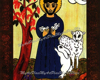 St. Francis, Patron Saint of Animals, Catholic Art, New Mexico Santo, Religious Icon, Christian, Folk Art, Sacred Art, Mexican Art, Postcard