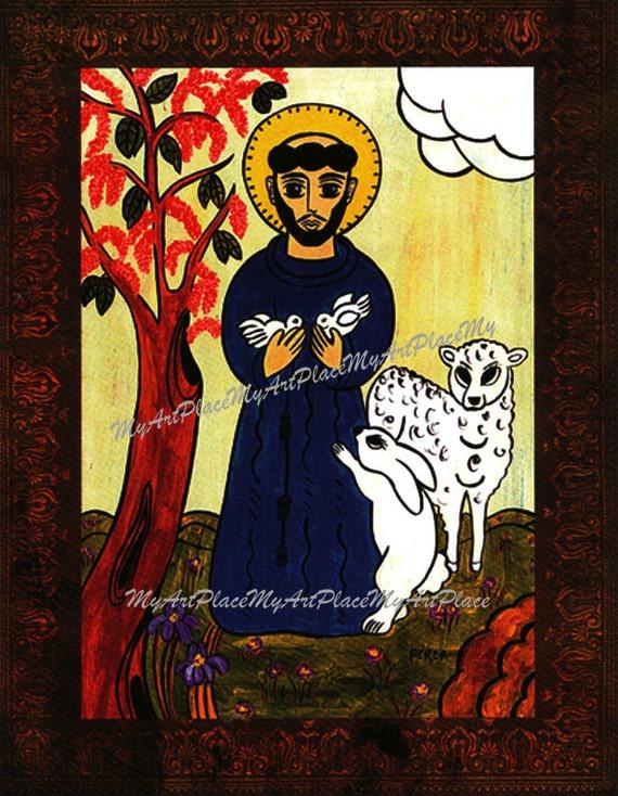 Folk Art, St. Francis, Patron Saint of Animals, Catholic Art, New Mexico Santo, Religious Icon, Christian