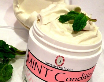 Organic PEPPERMINT Ultra-Whipped VEGAN Shea Body Butter. Icy Lotion/ Luxurious Cream. *Mint Condition* w/ Soothing Calendula. Christmas Gift