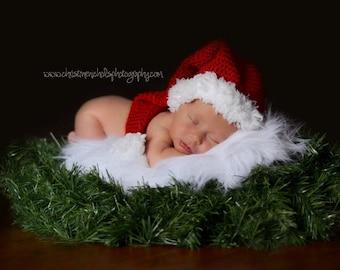 Baby Santa Hat, Christmas Hat, Christmas Baby Photo Prop, Holiday Baby Hat, Christmas Baby Hat, Crochet Baby Hat, Christmas Elf Hat
