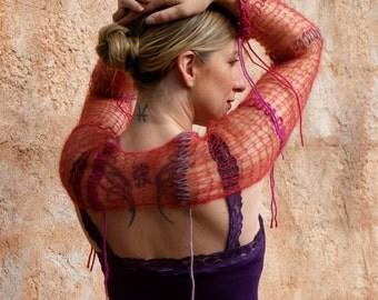 Lilith -  Wearable Art Red Orange Dragons Blood Silk Kid Mohair Mesh Shrug Lace Sheer Fringe Shrug by Eva Bella Boutique