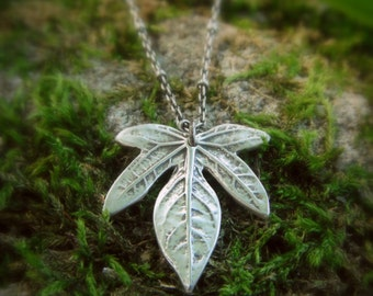 Botanical Jewelry - Real Leaf Necklace - Elven Leaf Necklace - Silvan Leaf - Artisan Handcrafted with Recycled Fine Silver