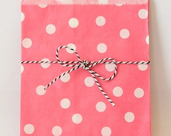 Pink and White Party Favor Bags Polka Dot Treat Bags Pink Party Supplies Girls Birthday Party Goodie Bags Pink Cupcake Party / Set of 12