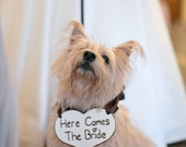 Puppy Sign, Flower Girl Basket Alternative - Here Comes The Bride Heart Sign, Beautiful Cream Ribbon, Rustic Wedding, Shabby Chic Wedding