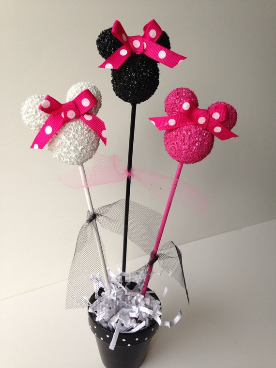 Minnie Mouse birthday party centerpiece, decoration, pink, black, polka dots, birthday decorations