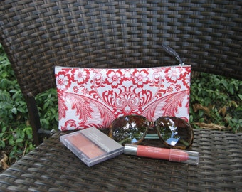 Zippered Oil Cloth Pouch-White with Red Paisley Cosmetic Bag--Purse Organizer--Pencil pouch