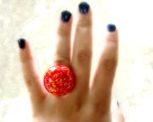 Colorful Candy Resin Dome Statement Ring Pink Orange Yellow Red Adjustable Filigree Band Teen Tween