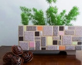 Eames Era Style Mosaic Treasure Box, Catch-All  Storage From Re-Purposed Tiles in Browns, Earth Tones, Planter, Bills, Letter