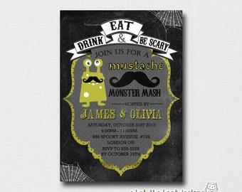 Halloween Mustache Monster Mash - Printable Party Invitation (Digital File)