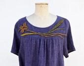 violet linen blouse, mustard felt, tunic, pregnancy S M size unique fashion design natura maternity wearable art, organic to wear hemp 174