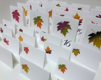 Autumn Place Cards, 100 Autumn Leaf Placecards. Fall placecards, Vintage Botanical Illustrations, Assorted Fall Colors