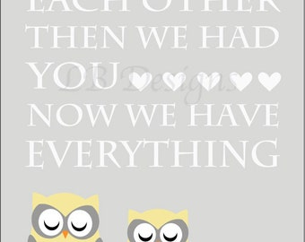 Owl Nursery Print, Twin Nursery Decor, Woodland Nursery Print, Gender Neutral Nursery Decor, Owl Family Print, Nursery Wall Art - 8x10